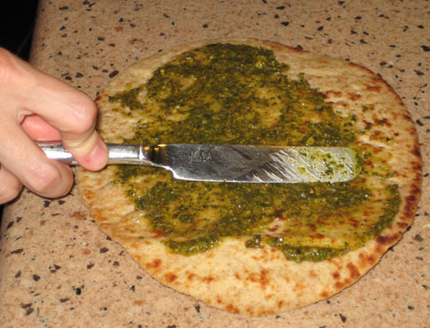 Naan and pesto