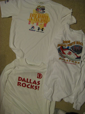 Two Tech Shirts and a Long sleeve T-shirt.