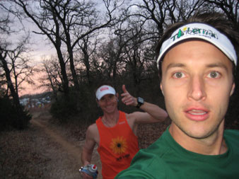 Tim and I cruising along early in the run.