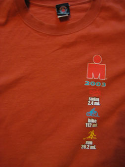Ironman t-shirt with the big old m-dot.