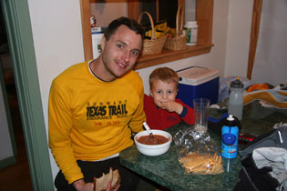 Post race homemade stew with Griffin.