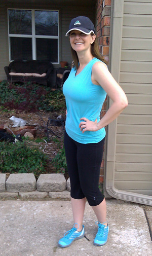 tasc V-tank and fitted Capri pants.