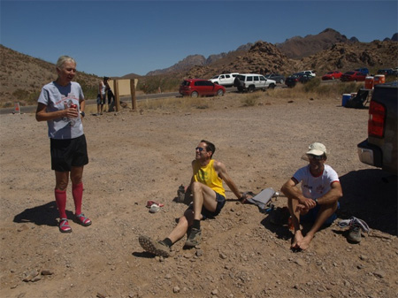 The top three marathoners unwind after the race. R to L: Michelle Hawk (1st woman, 2nd overall), Peter Livingstone (2nd Mens), Thomas Forsman (1st Mens).