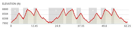 Elevation profile. 11,638 total gain and loss