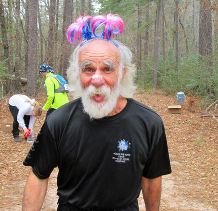 Bobby wearing some special bling courtesy of the DamNation aid station at Rocky Raccoon 100. (credit: Deborah Sexton)