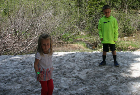 The family snowball fight about to begin in the Rocky Mountain National Park at Bear Lake.