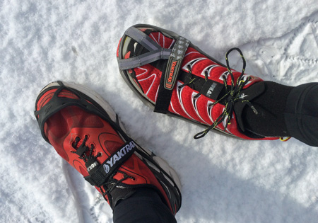 Pre-run setup of Yaktrax Pro (left) and Yaktrax Run (right).